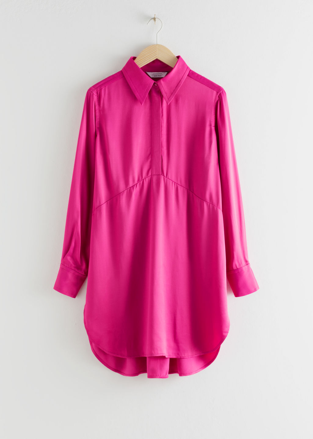 Front image of Stories flowy satin shirt dress in pink