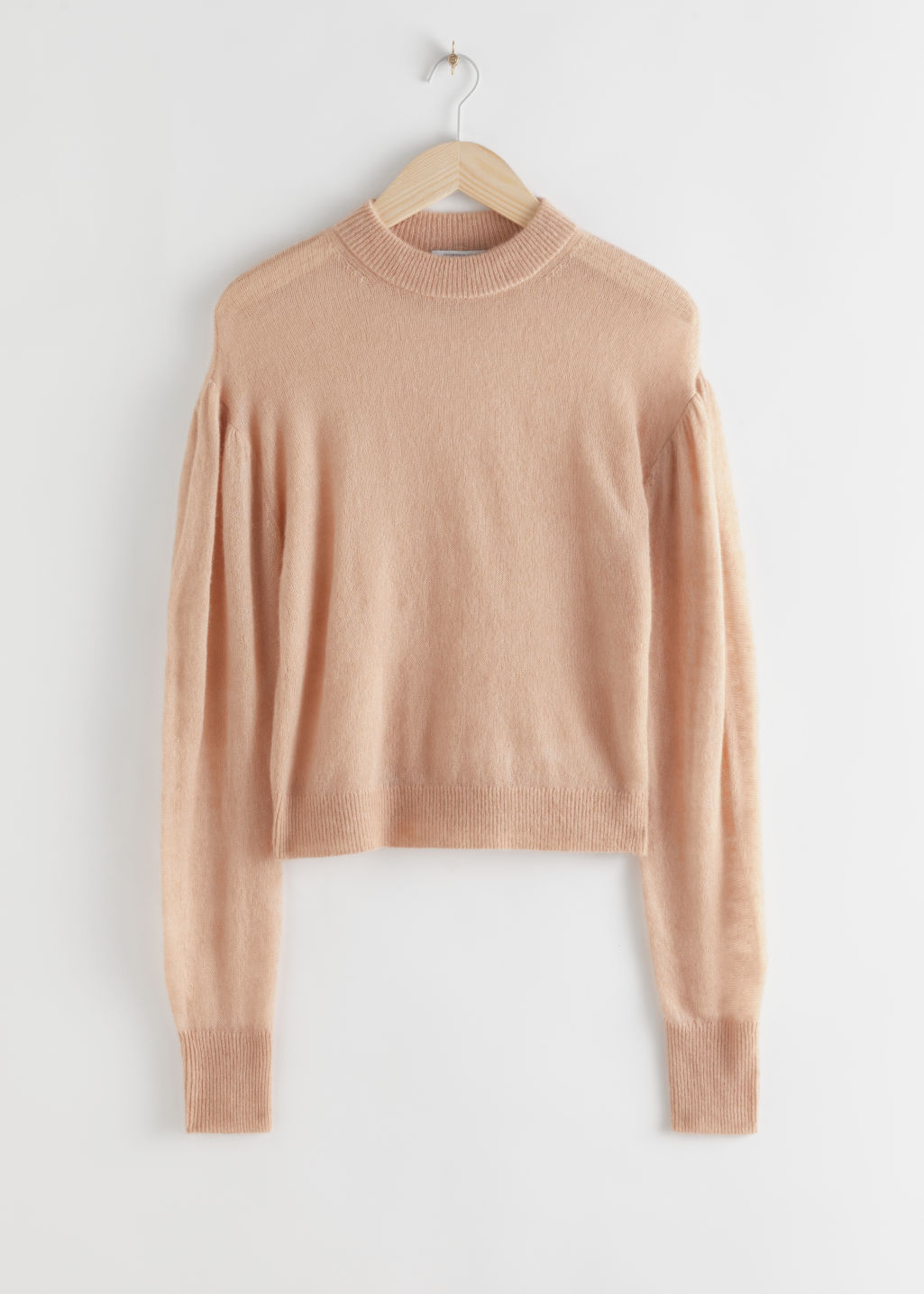 StillLife Front Image of Stories Wool Blend Puff Sleeve Sweater in Beige