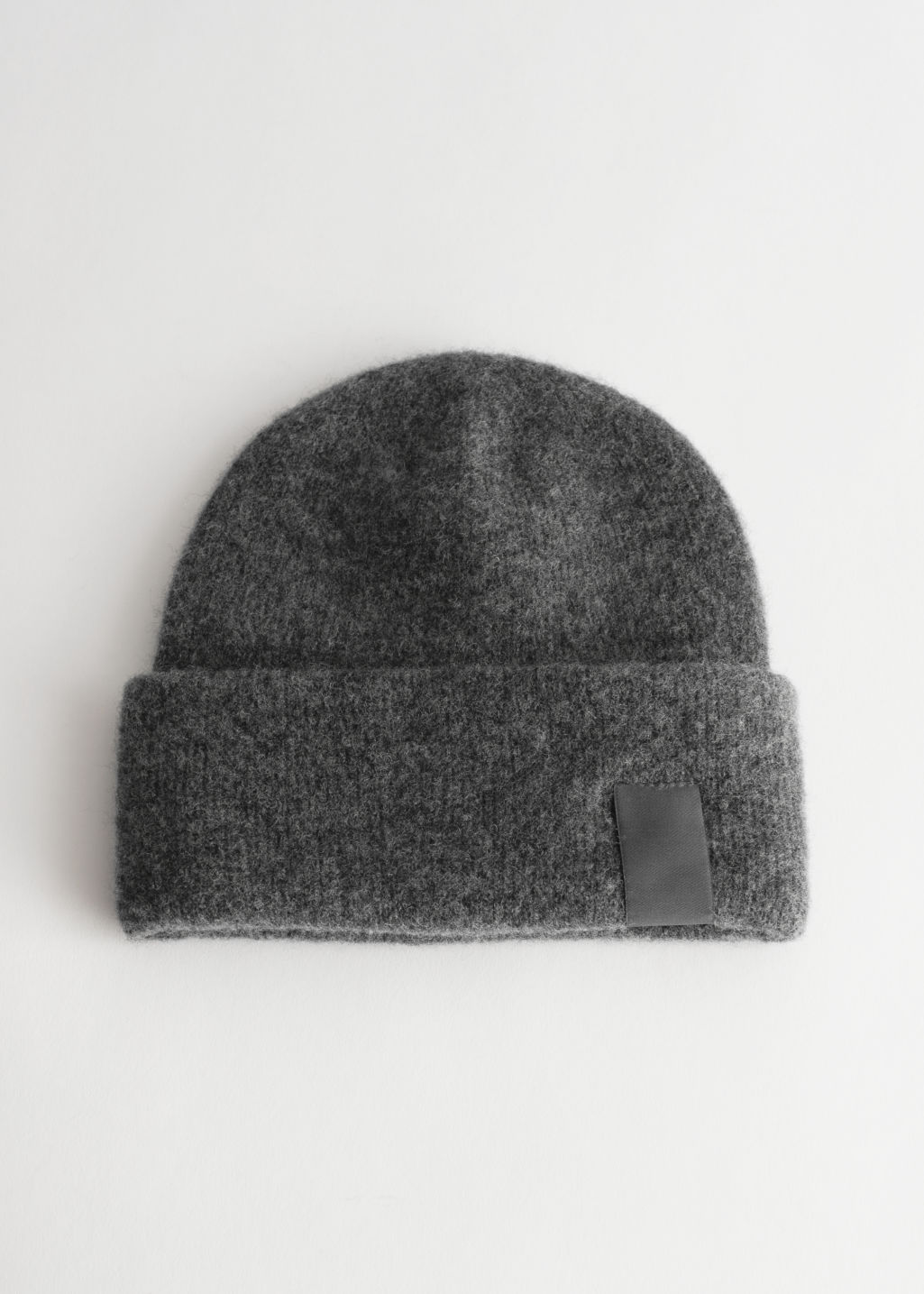 StillLife Front Image of Stories Fuzzy Wool Blend Beanie in Silver