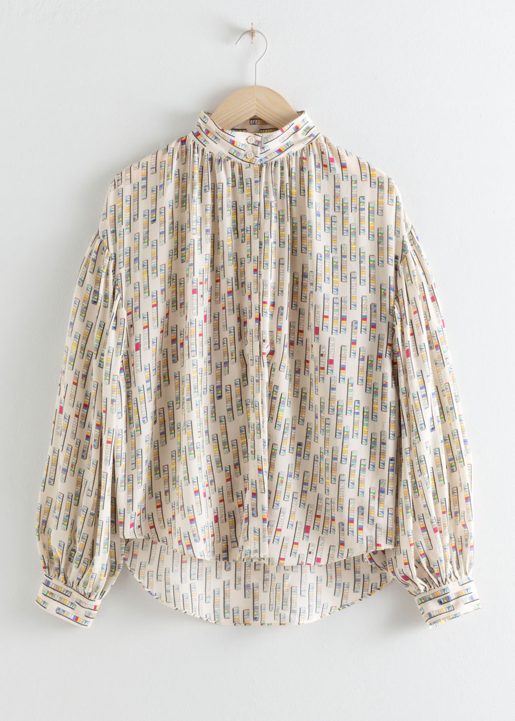 StillLife Front Image of Stories Silk Puff Sleeve Printed Blouse in Beige