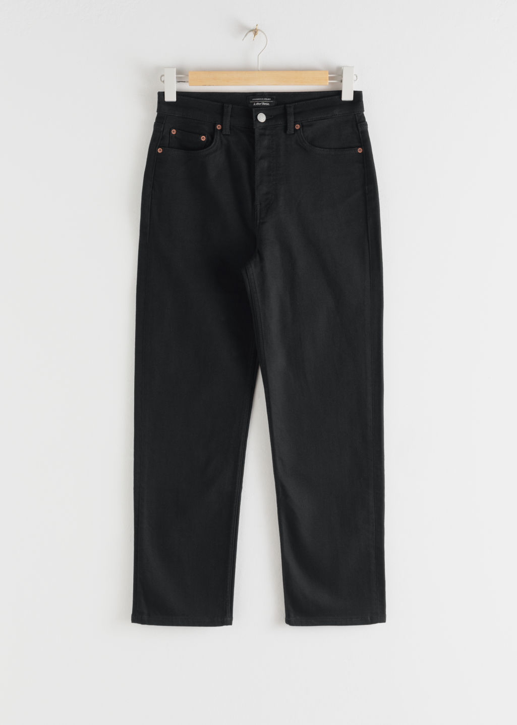StillLife Front Image of Stories Straight High Rise Stretch Jeans in Black