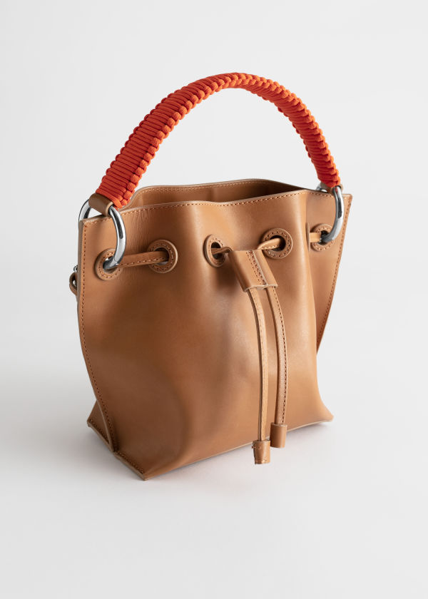 Braided Handle Leather Bucket Bag