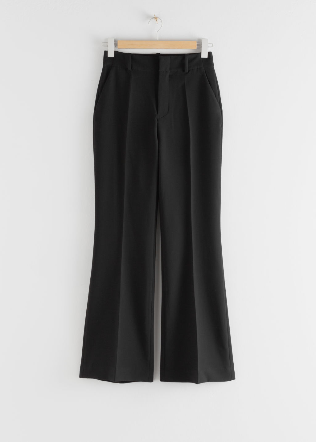 Front image of Stories wide leg tailored trousers in black