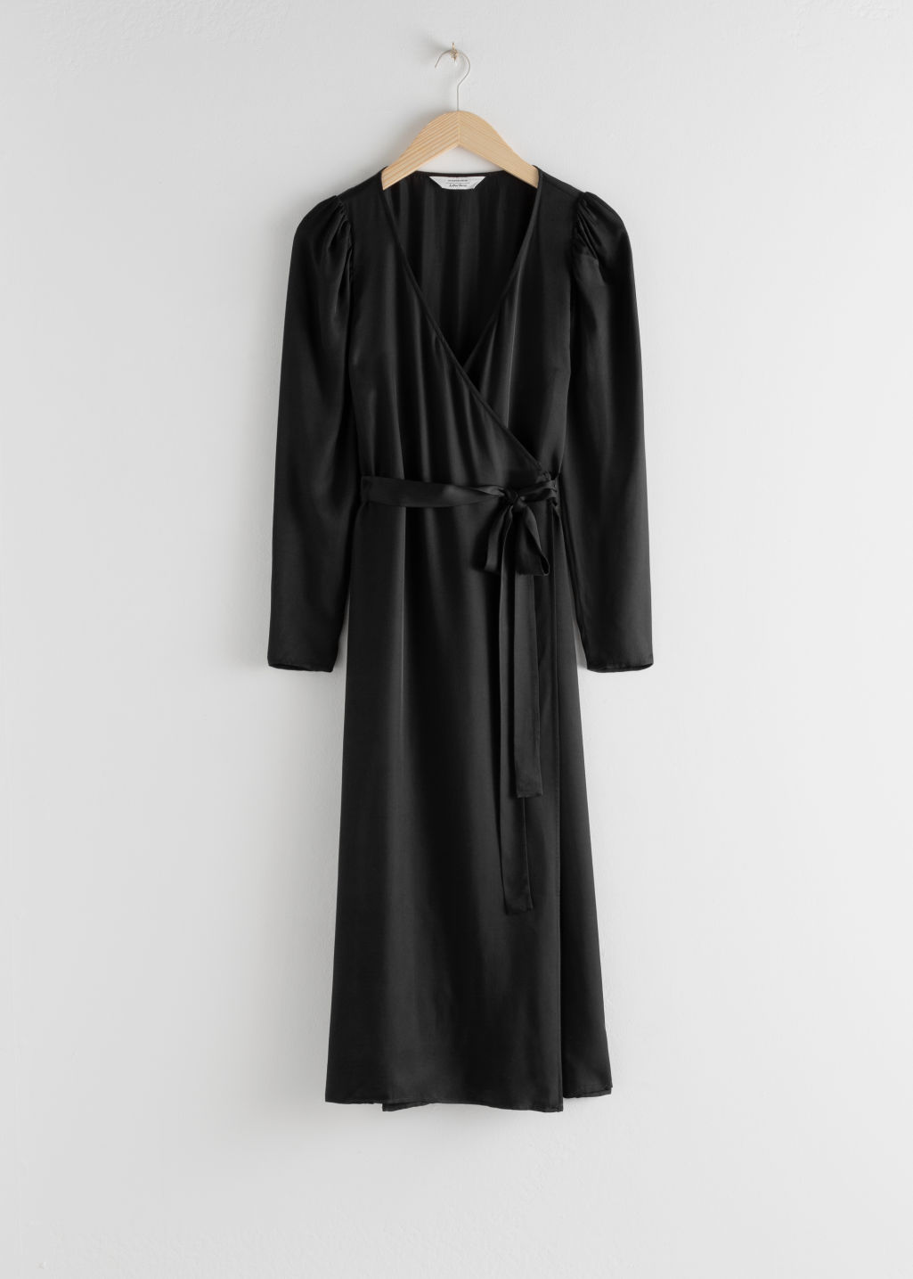 StillLife Front Image of Stories Puff Sleeve Midi Wrap Dress in Black