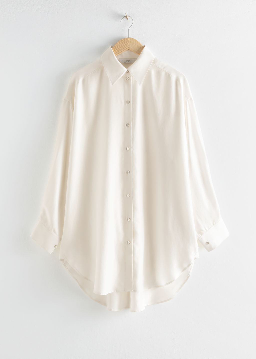 StillLife Front Image of Stories Oversized Silk Puff Sleeve Shirt in White