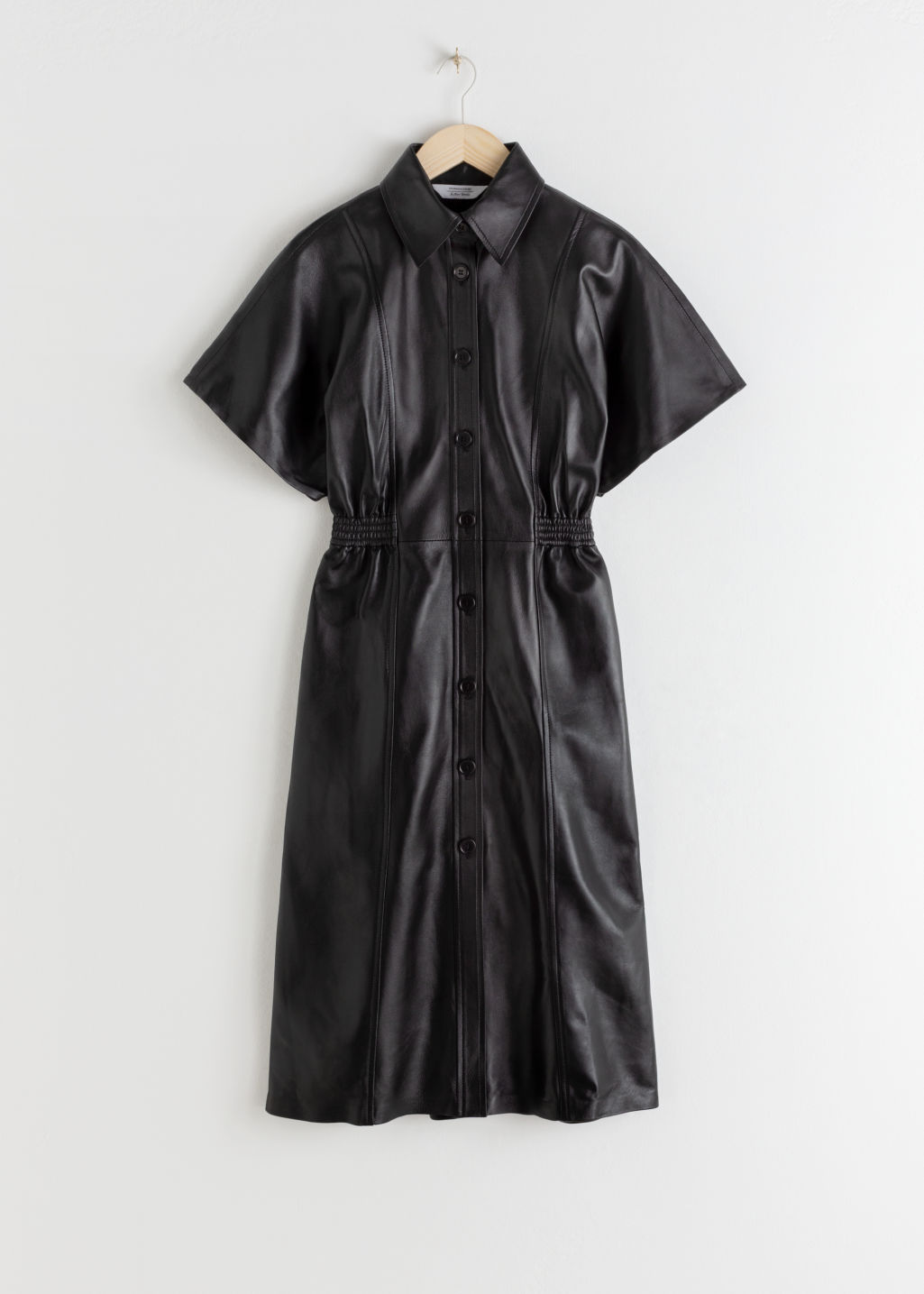 StillLife Front Image of Stories Structured Leather Midi Dress in Black