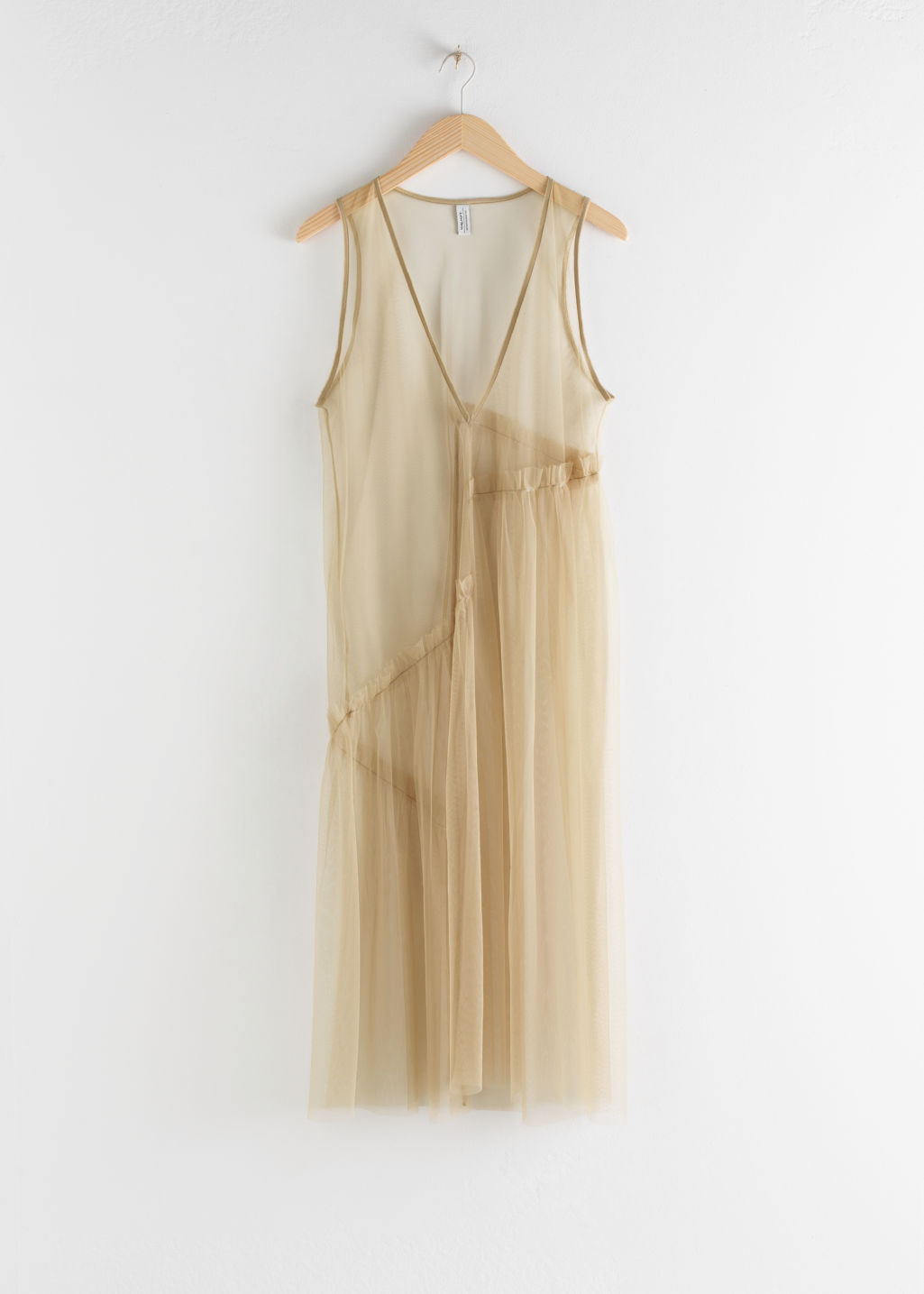 Front image of Stories mesh asymmetric ruffled midi dress in beige