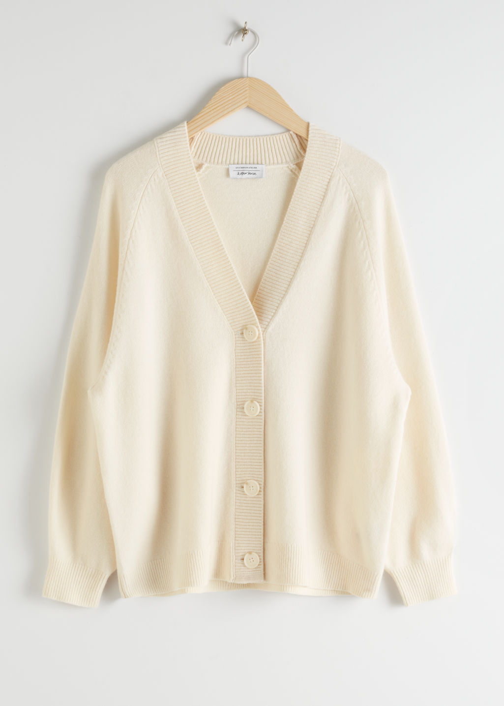 StillLife Front Image of Stories Oversized Wool Cardigan in White