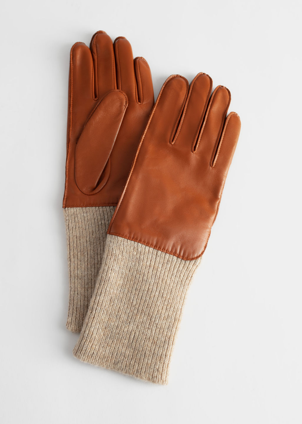 StillLife Front Image of Stories Ribbed Cuff Leather Gloves in Beige