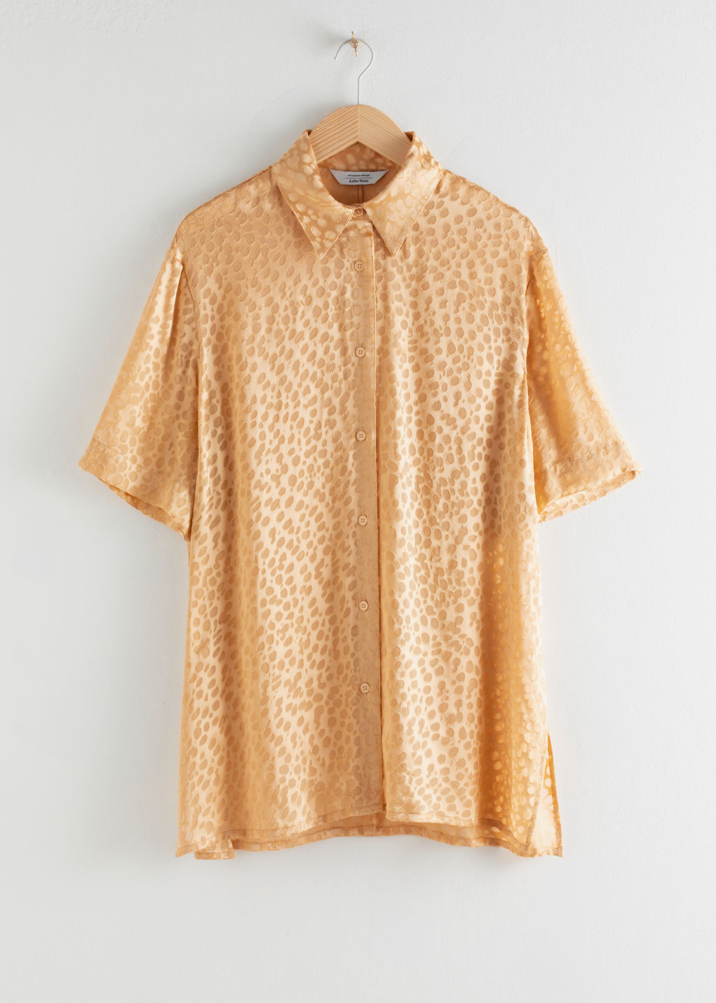 StillLife Front Image of Stories Oversized Silk Jacquard Leopard Shirt in Beige