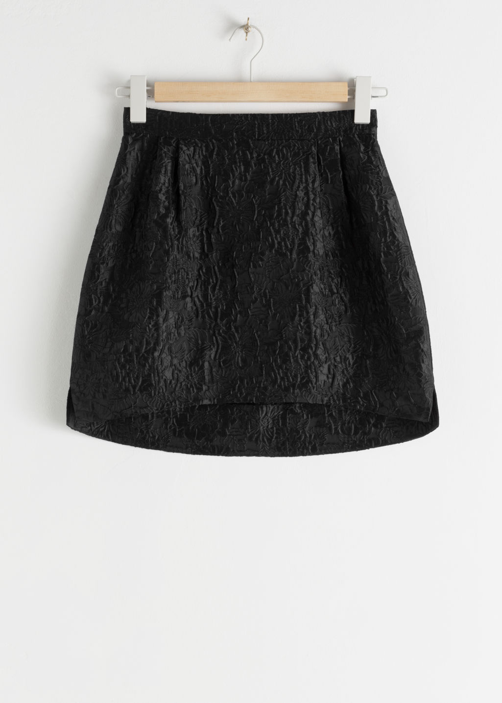 Front image of Stories floral jacquard mini skirt in black