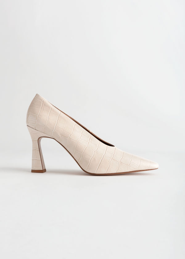 Croc Embossed Flared Heel Pumps