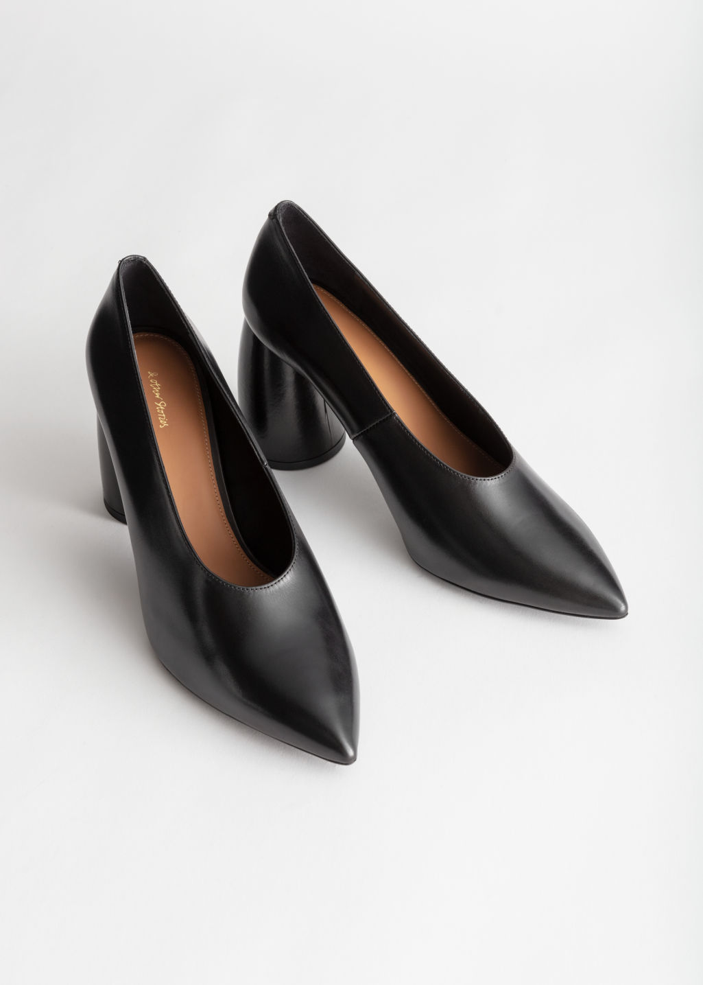 Back image of Stories flared block heel leather pumps in black