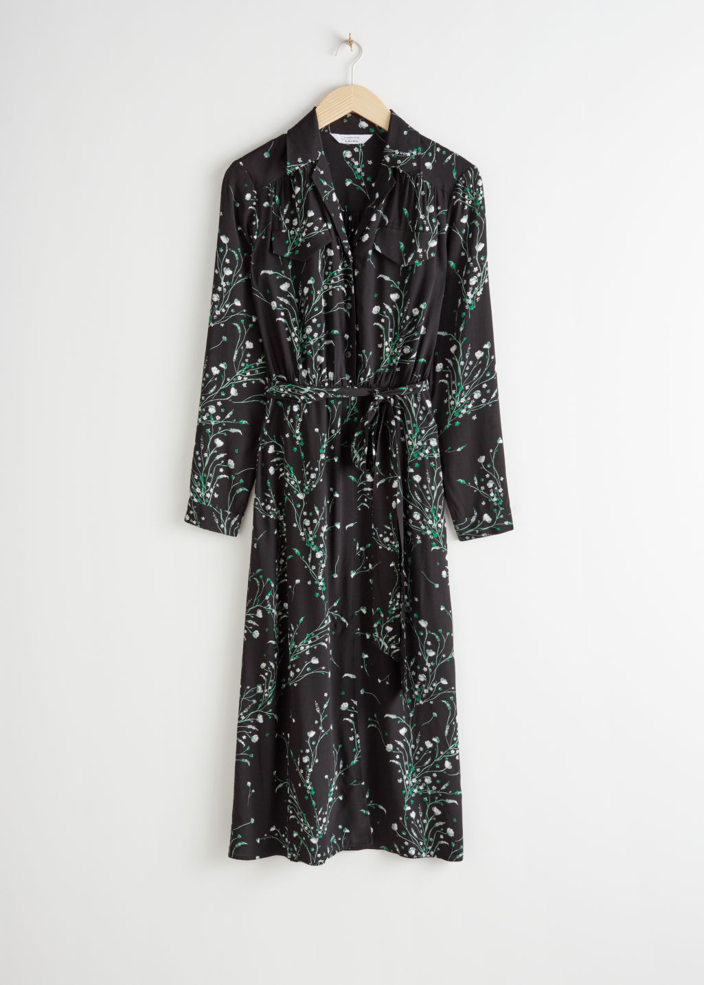Front image of Stories floral open collar belted midi dress in black