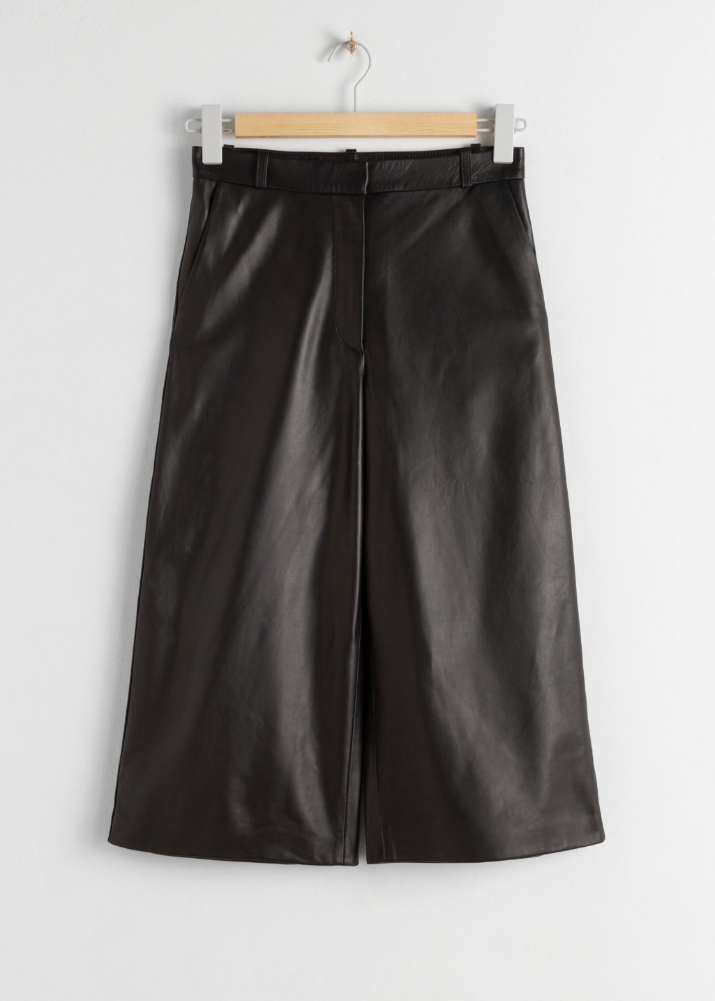 StillLife Front Image of Stories Leather Culotte Shorts in Black