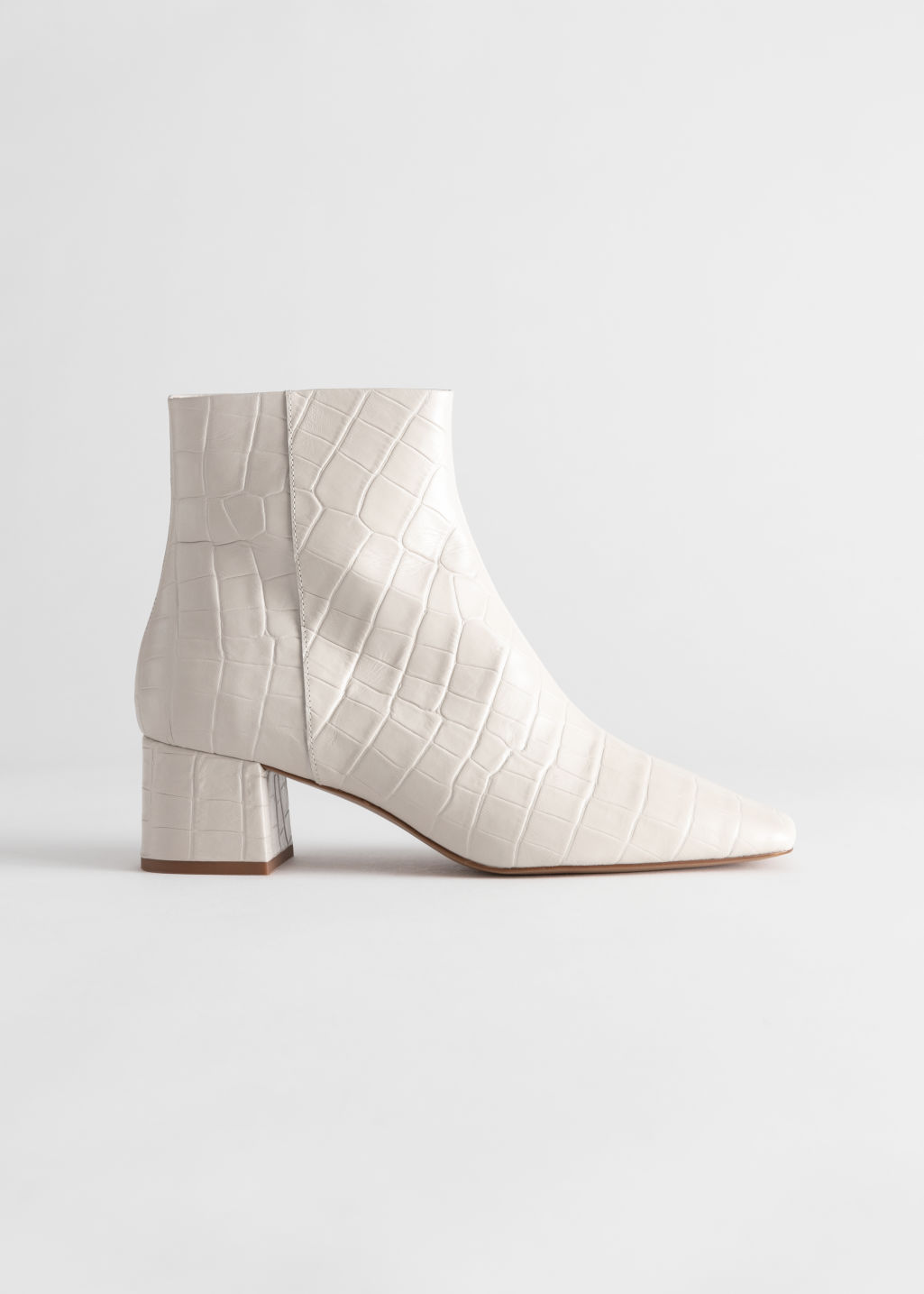 StillLife Front Image of Stories Croc Embossed Leather Square Toe Boots in White