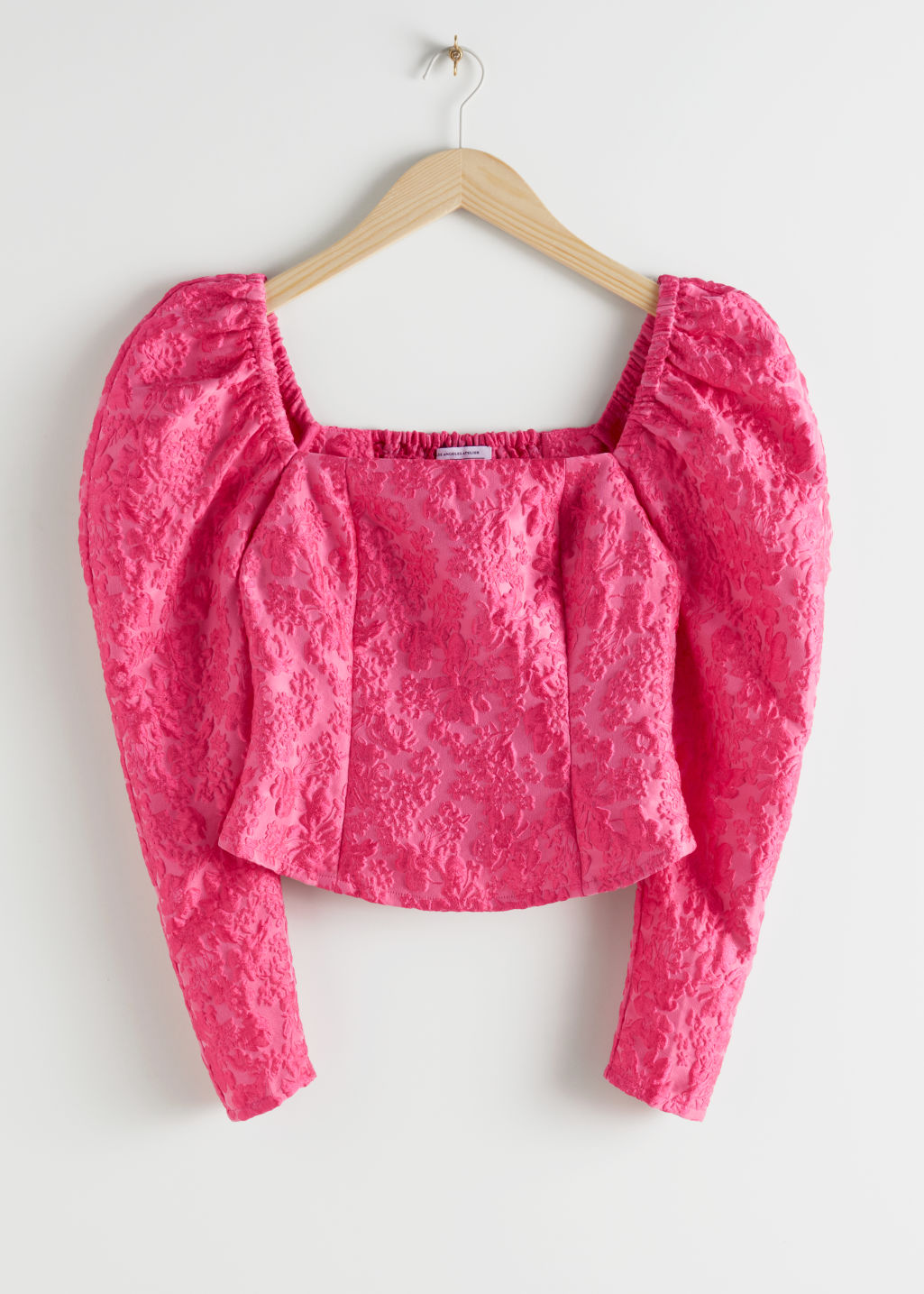 Front image of Stories square neck jacquard top in pink