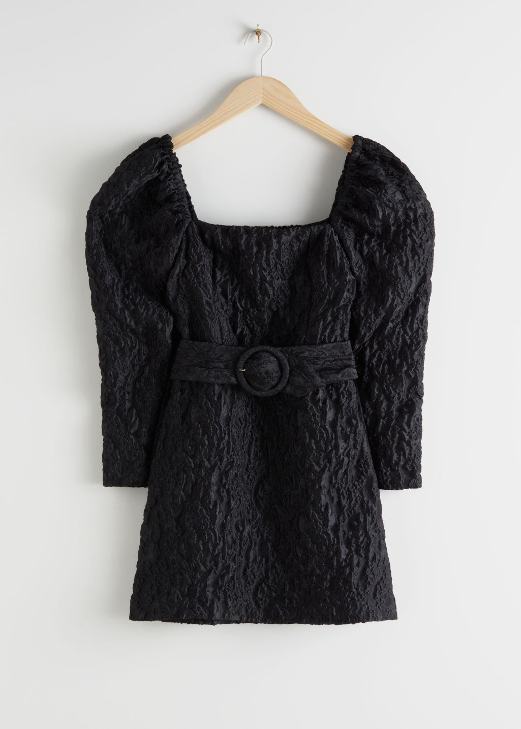 Front image of Stories belted puff sleeve jacquard mini dress in black
