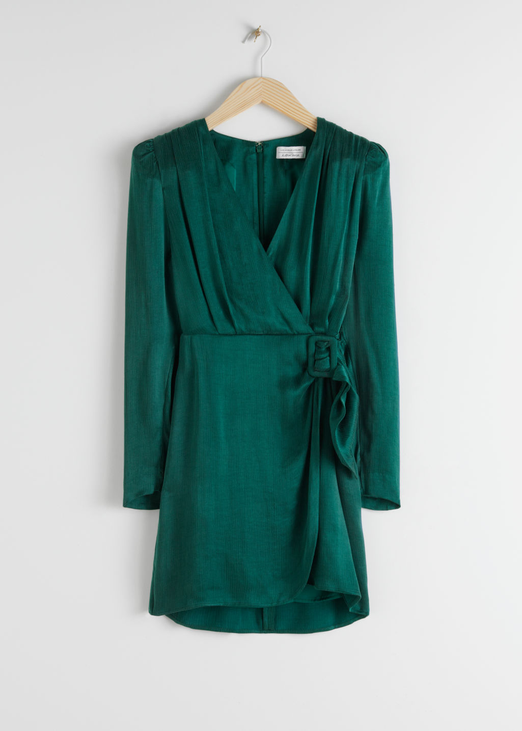 Front image of Stories satin buckle tie mini wrap dress in green