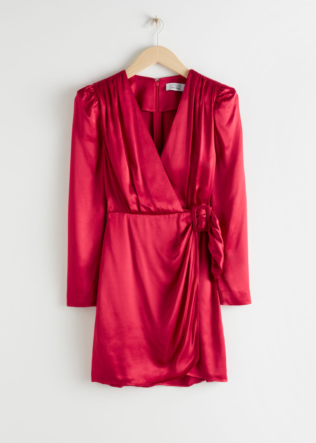 Front image of Stories satin buckle tie mini wrap dress in red