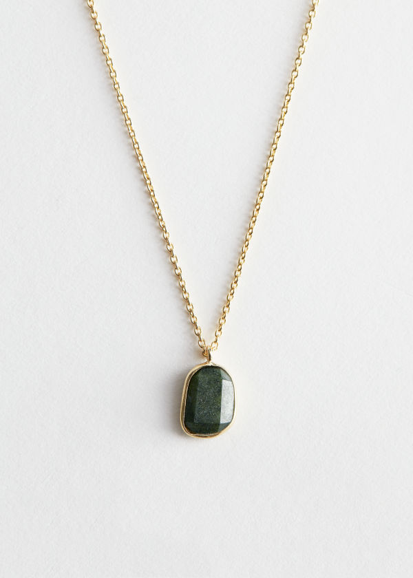 Stone Pendant Sterling Silver Chain Necklace
