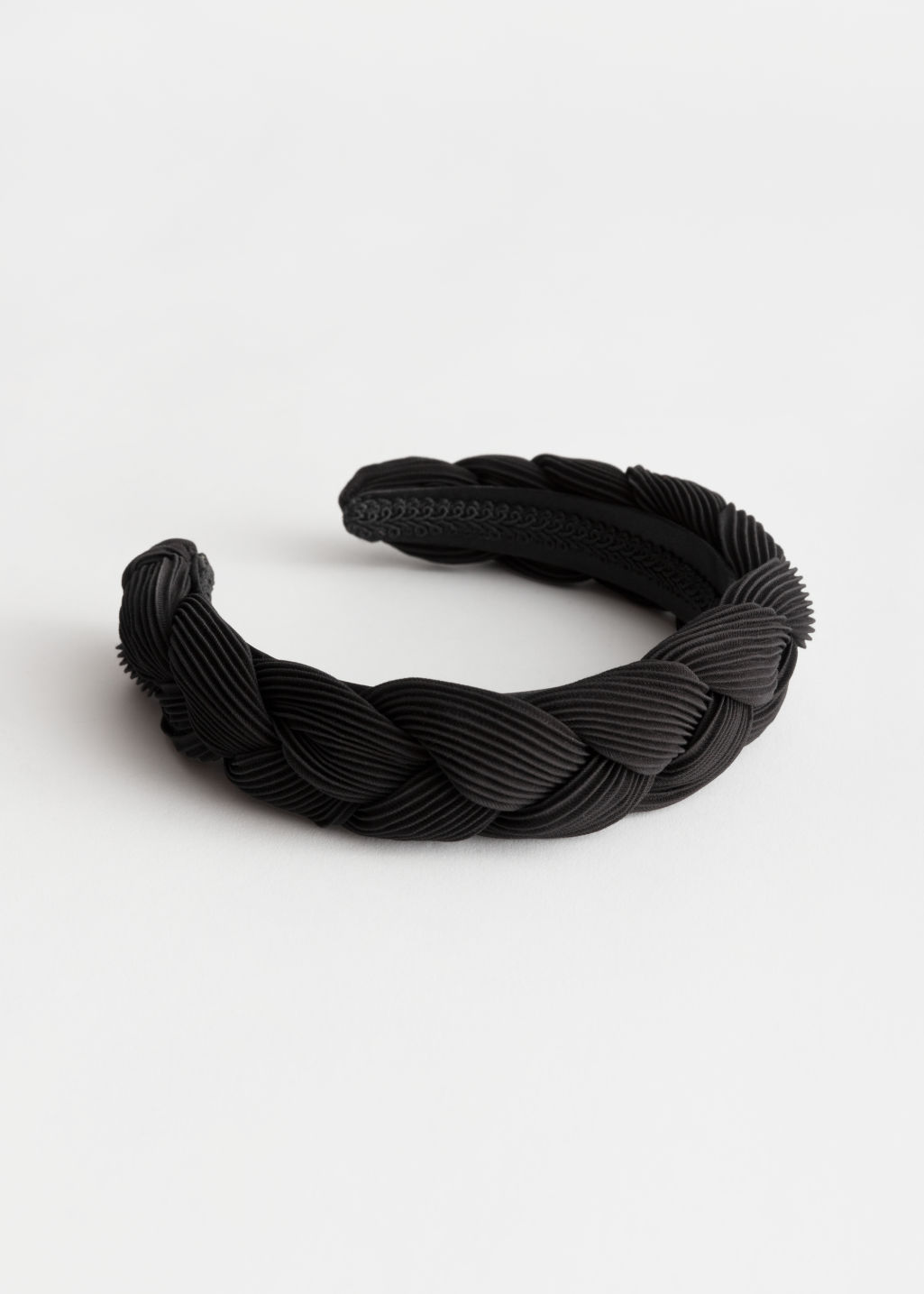 Front image of Stories chunky braided alice headband in black