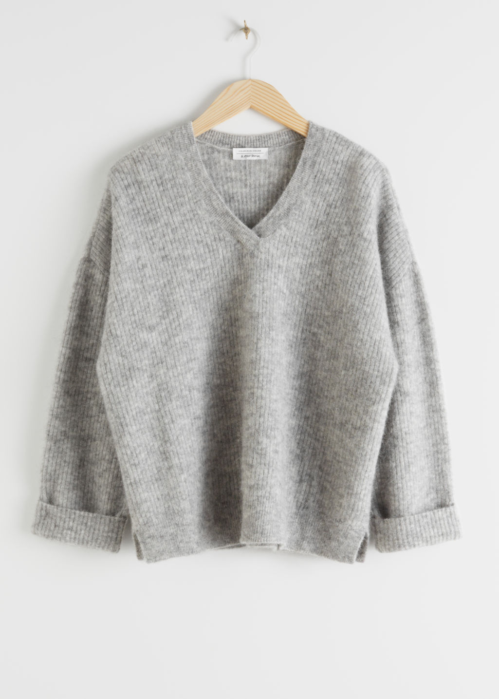 Front image of Stories oversized ribbed alpaca blend sweater in grey