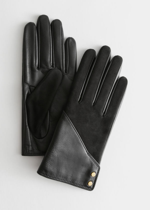 Suede Leather Cross Button Gloves