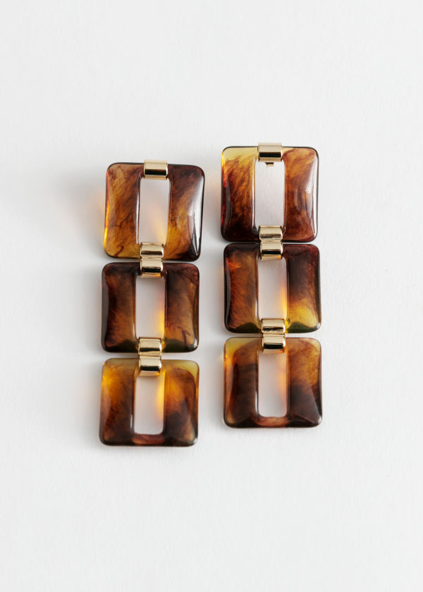 Square Resin Hanging Earrings
