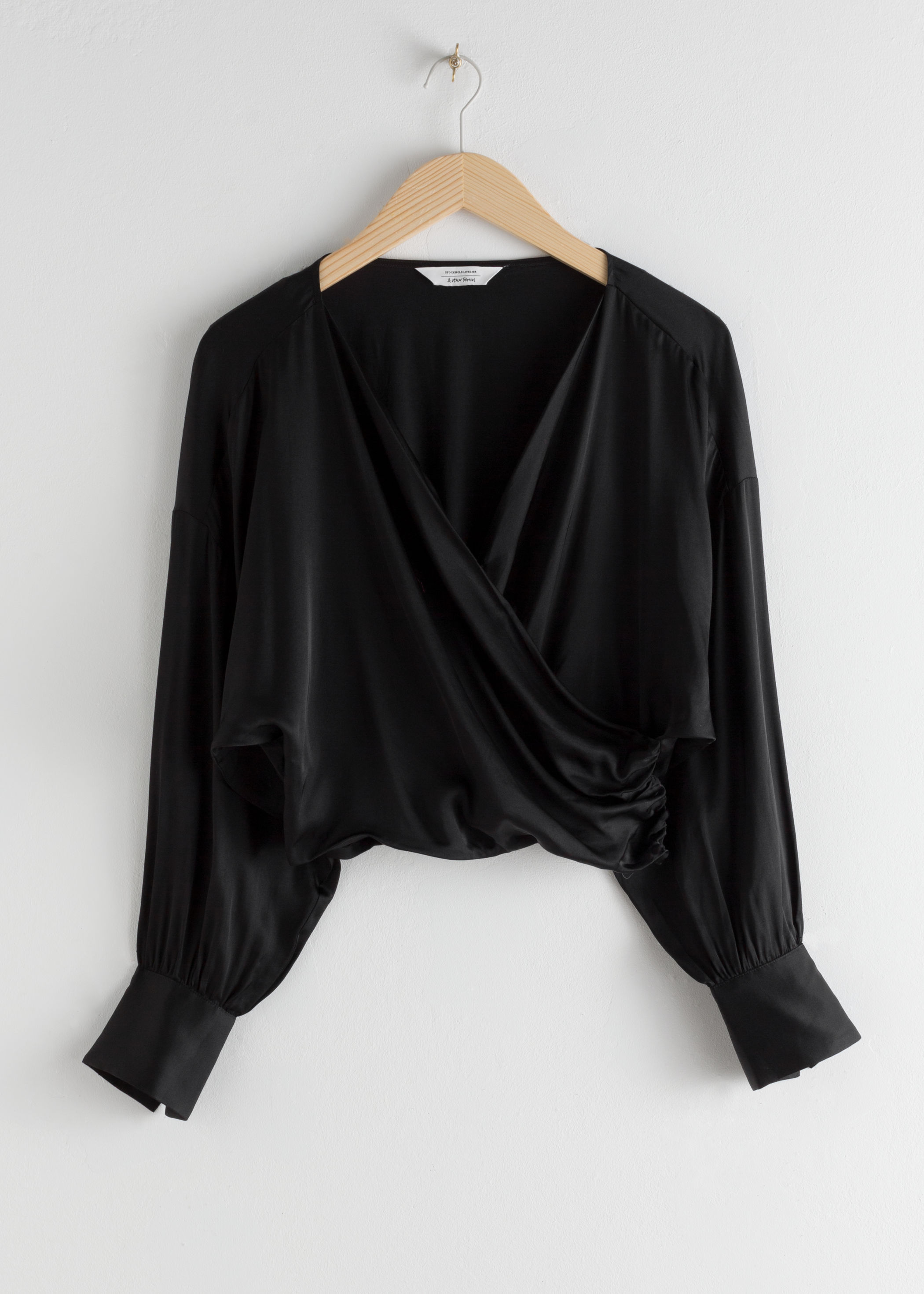 Draped Satin Wrap Blouse by & Other Stories