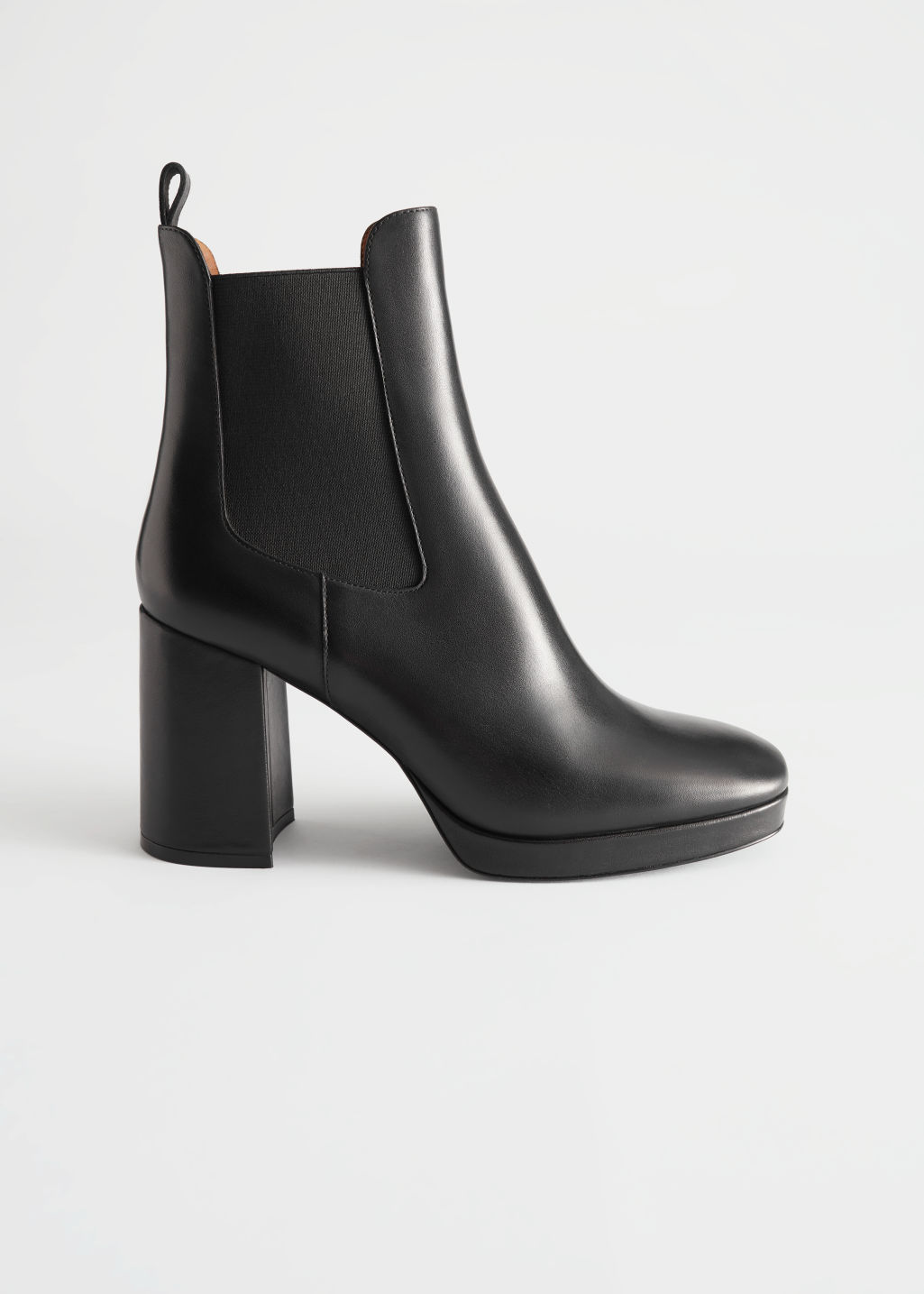 StillLife Side Image of Stories Block Heel Leather Chelsea Boots in Black