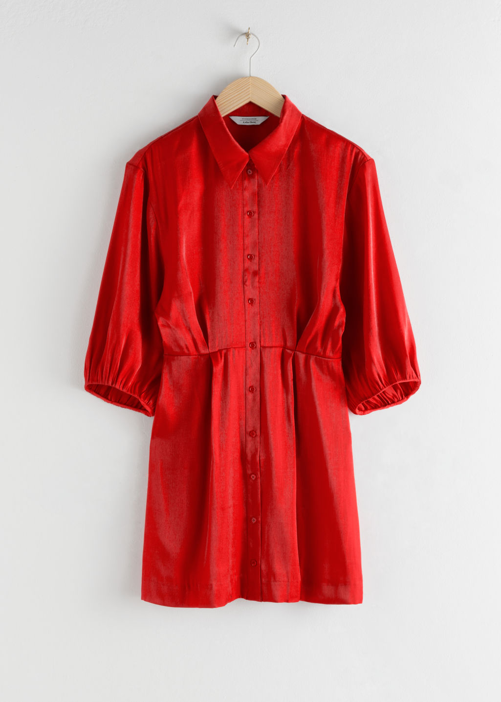Front image of Stories balloon sleeve mini shirt dress in red