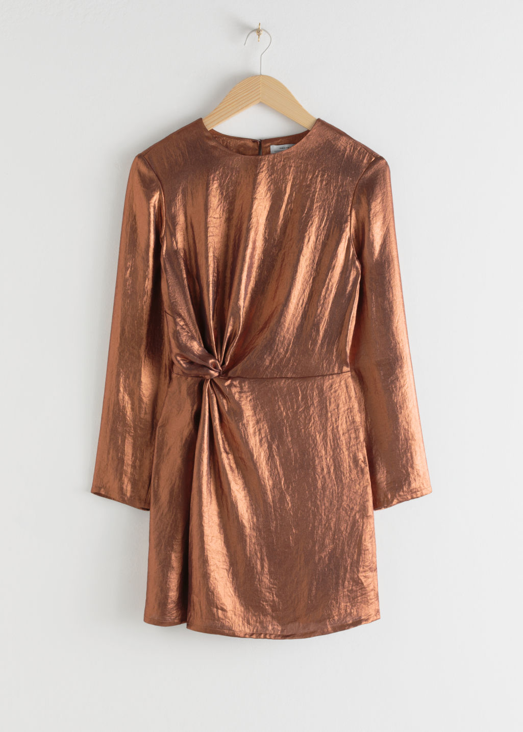 StillLife Front Image of Stories Metallic Satin Side Knot Mini Dress in Beige