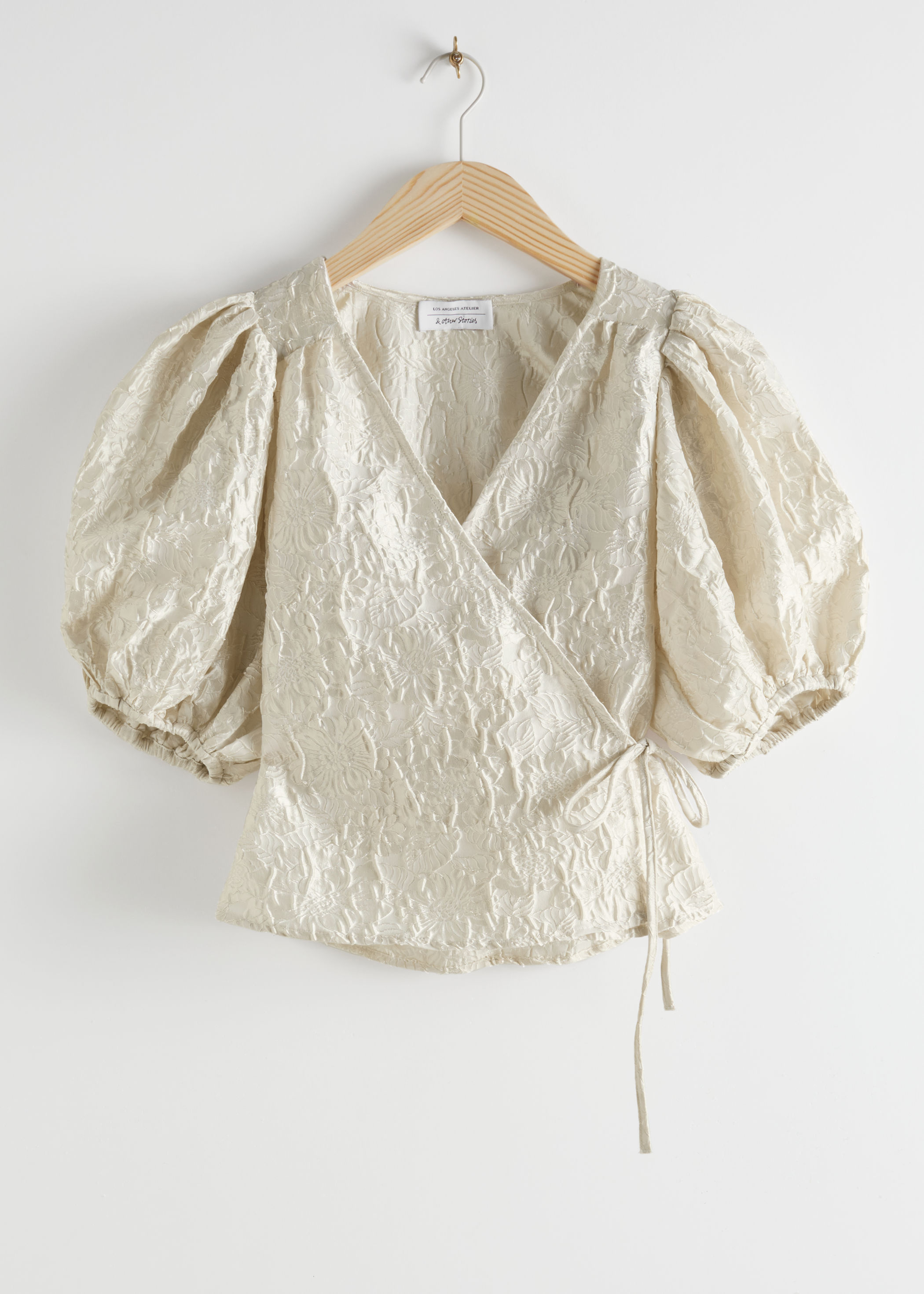 Jacquard Puff Sleeve Wrap Blouse by & Other Stories