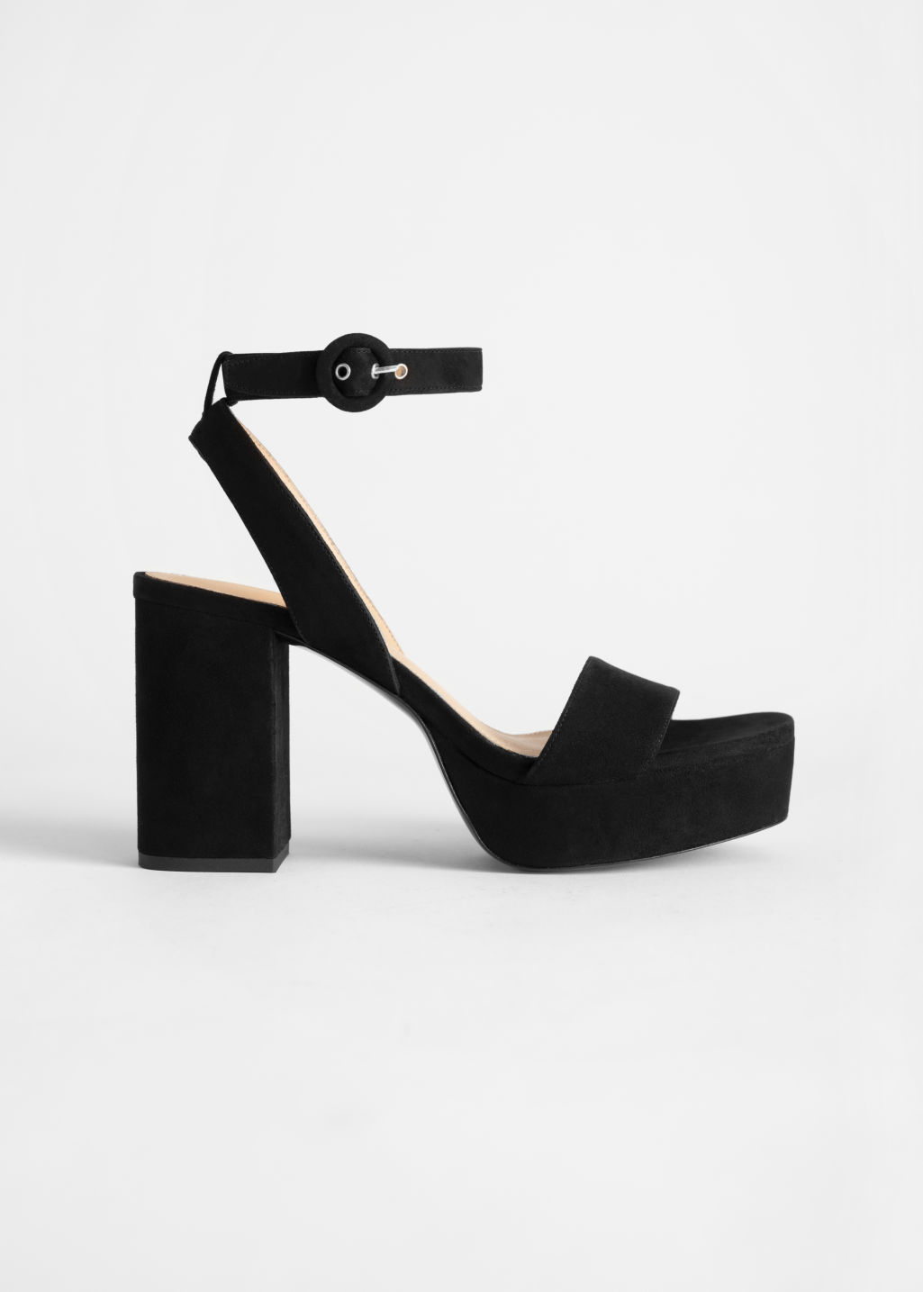 StillLife Front Image of Stories Suede Platform Heeled Sandals in Black