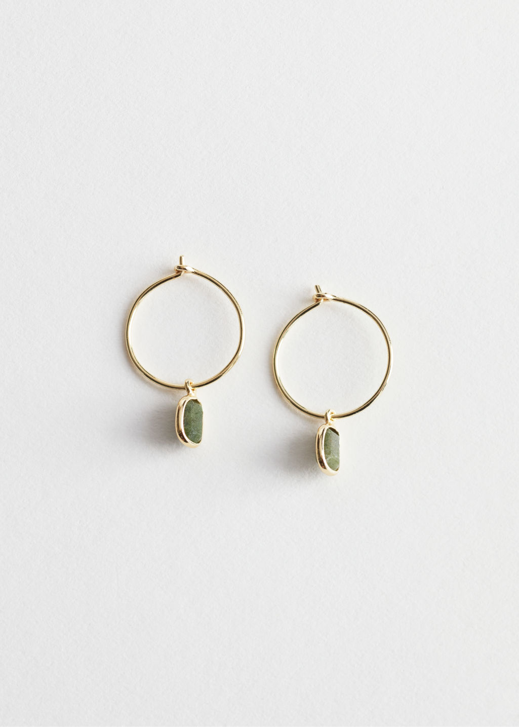 StillLife Front Image of Stories Sterling Silver Stone Pendant Hoop Earrings in Green