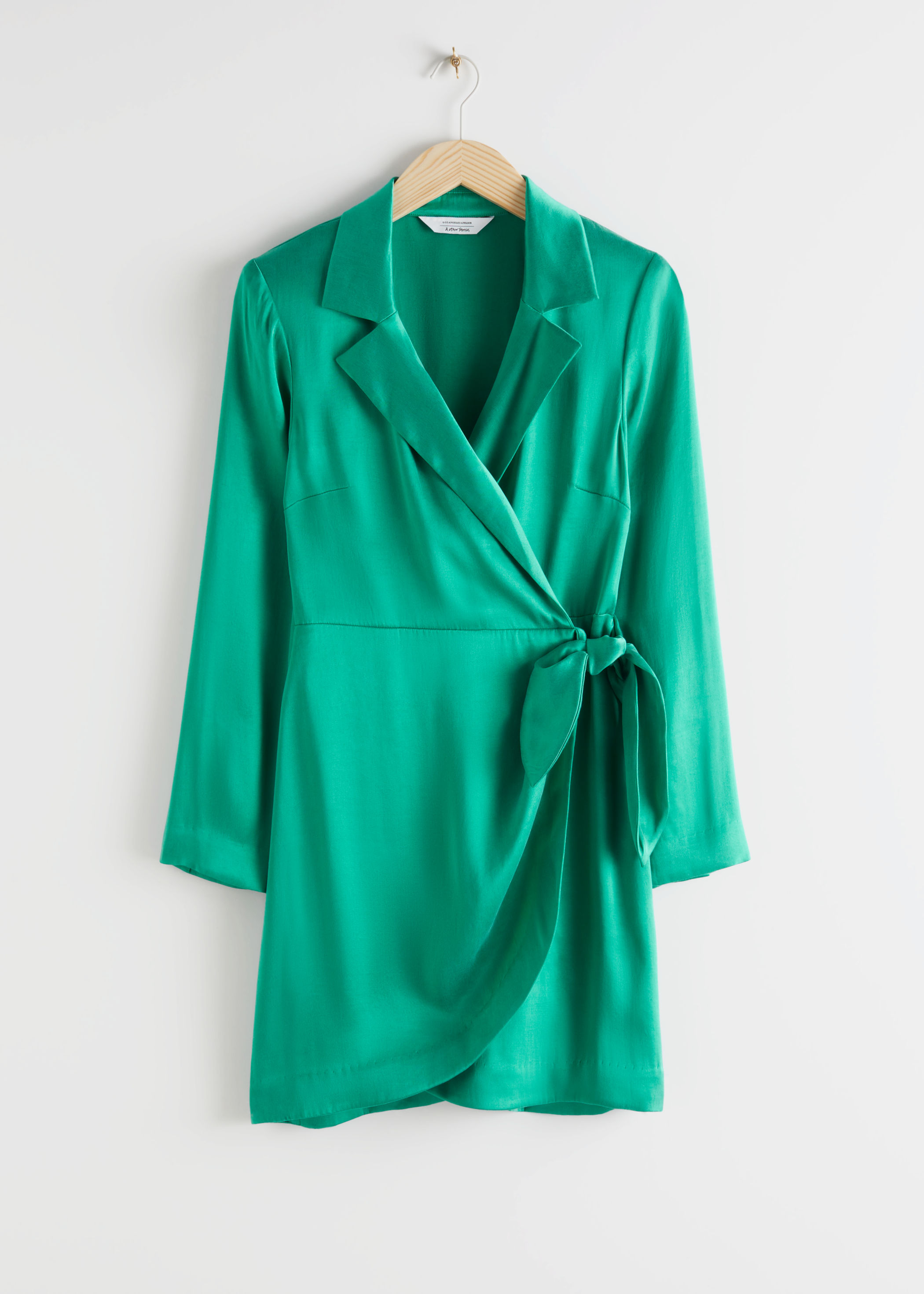 Tailored Satin Mini Wrap Dress by & Other Stories
