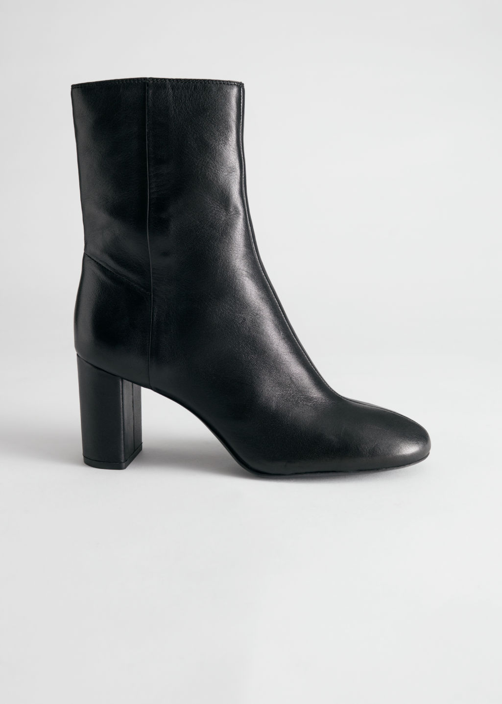 StillLife Side Image of Stories Smooth Leather Block Heel Boots in Black