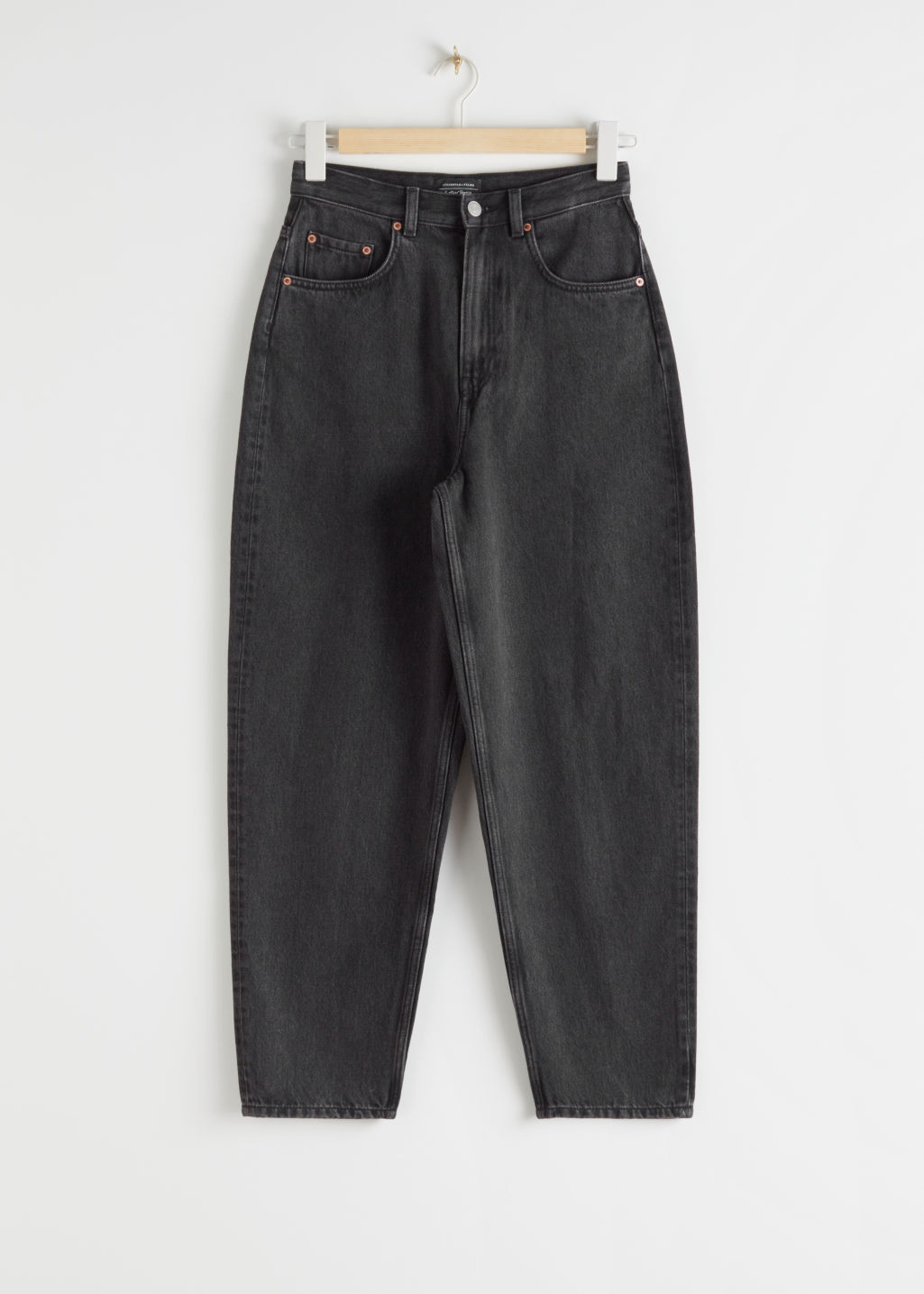 Front image of Stories organic cotton cropped mid rise jeans in black