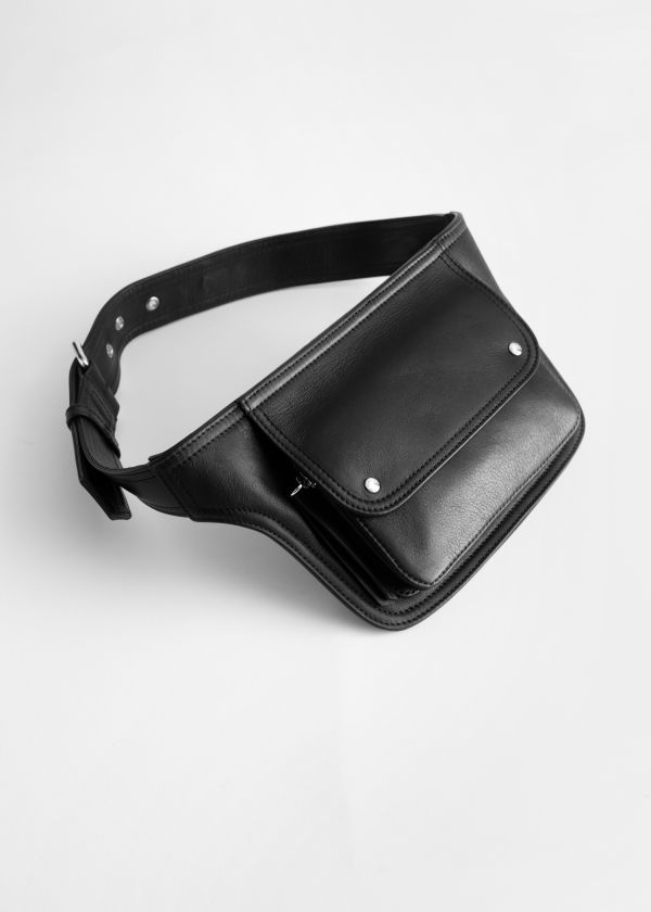 Leather Flap Pocket Belt Bag