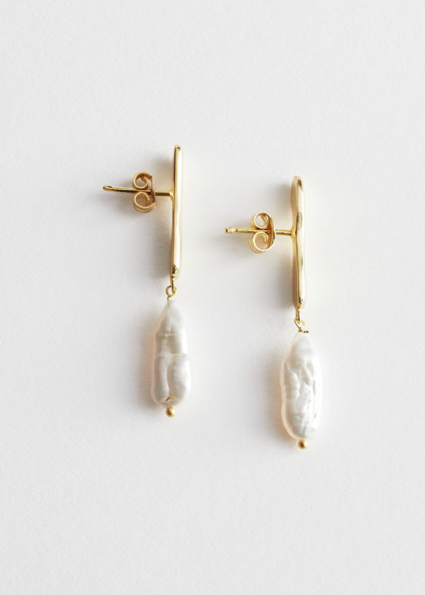 Small Hammered Pearl Earrings