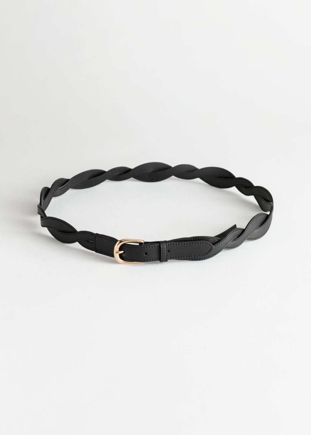 Front image of Stories braided leather belt in black