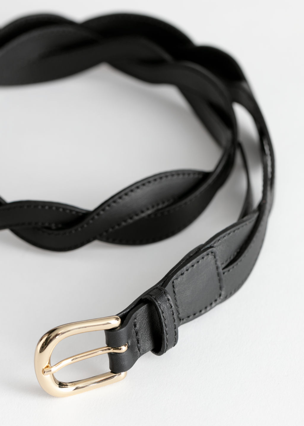 Back image of Stories braided leather belt in black