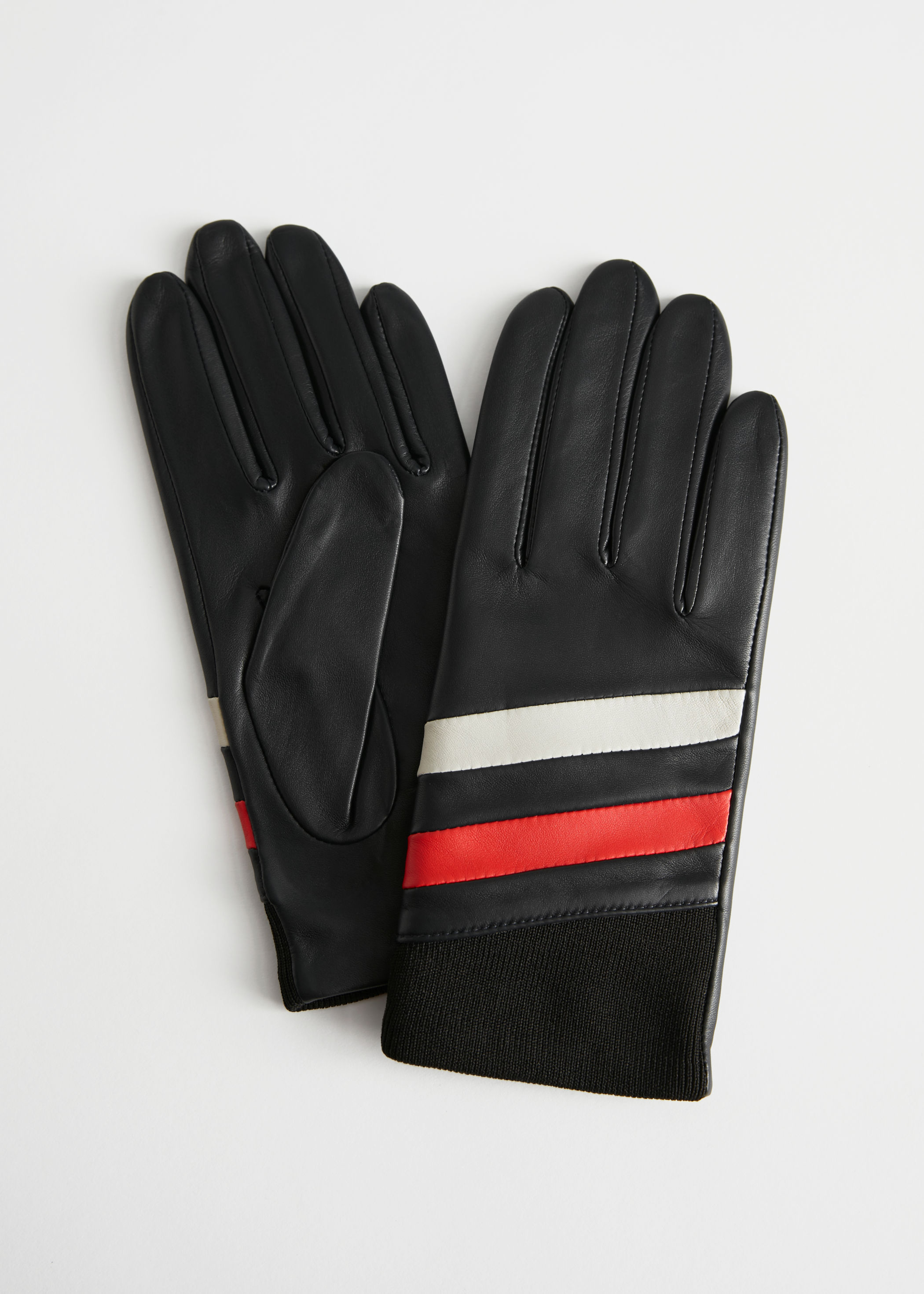 Colour Block Striped Leather Gloves by & Other Stories