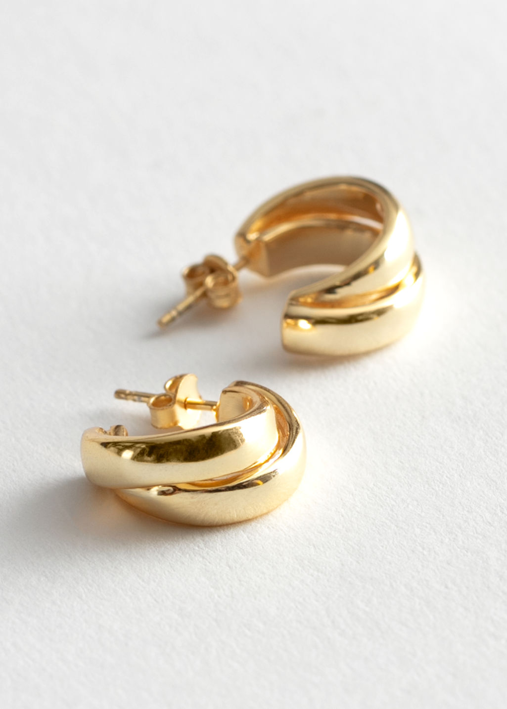 StillLife Front Image of Stories Chunky Layered Open Hoop Earrings in Gold