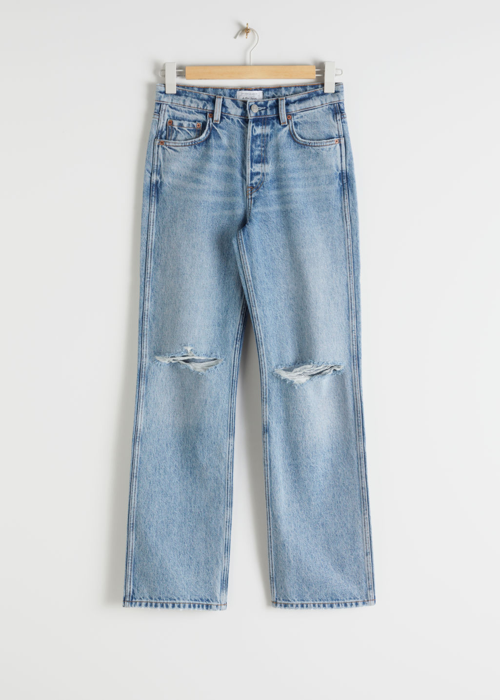 Front image of Stories straight mid rise distressed jeans in blue