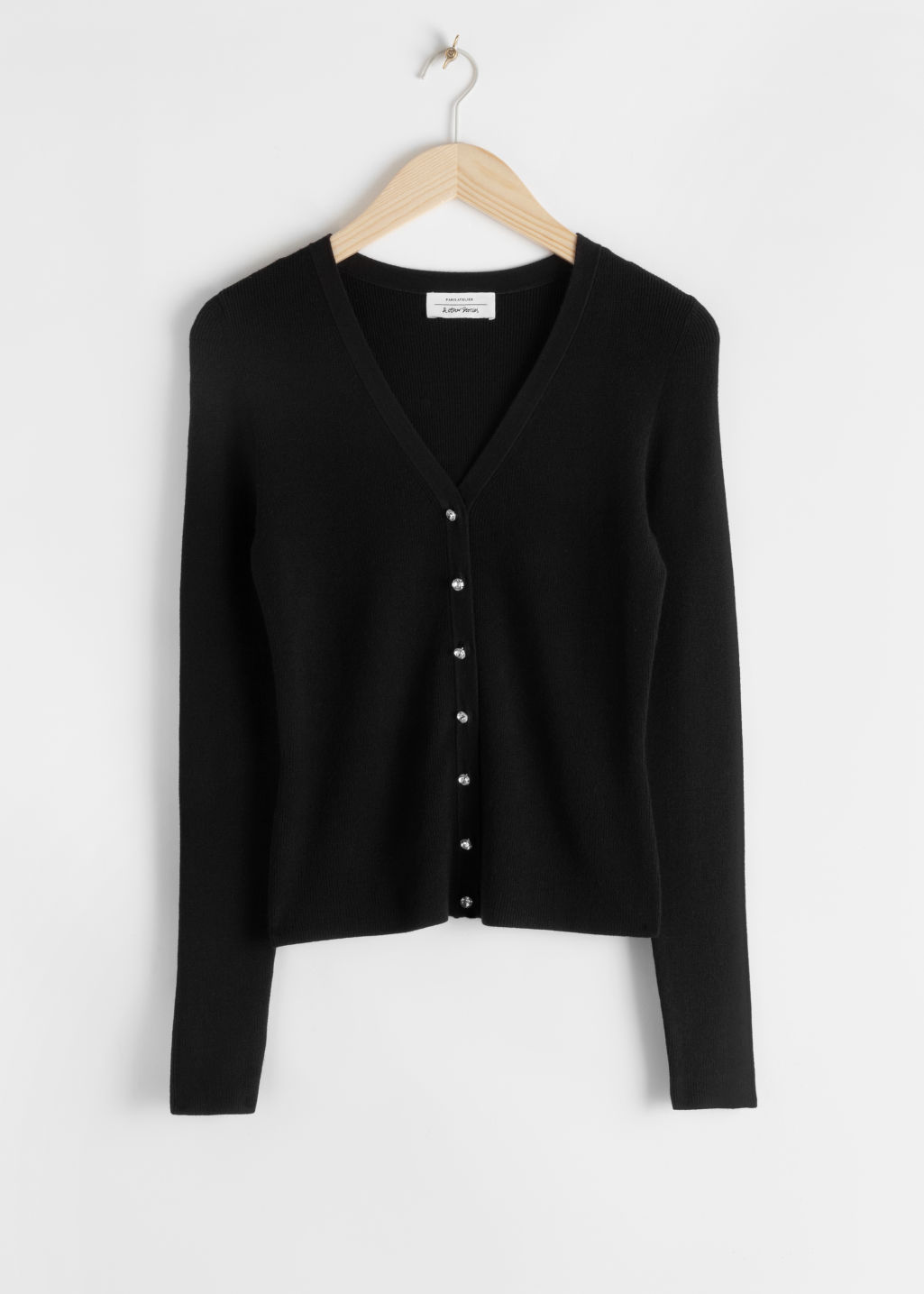 Front image of Stories rhinestone buttons fitted cardigan in black