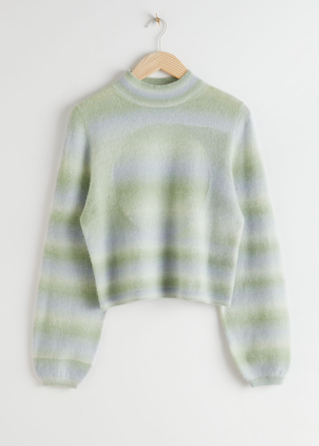StillLife Front Image of Stories Space Dye Mock Neck Sweater in Blue