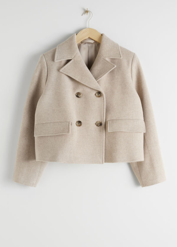 Cropped Double Breasted Wool Blend Jacket