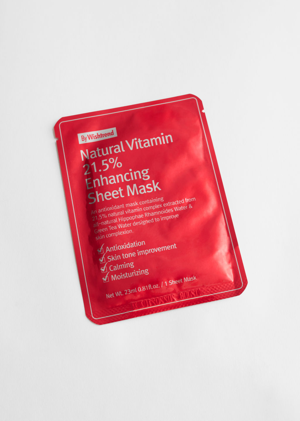 StillLife Front Image of Stories By Wishtrend Natural Vitamin 21.5 Enhancing Sheet Mask in Red